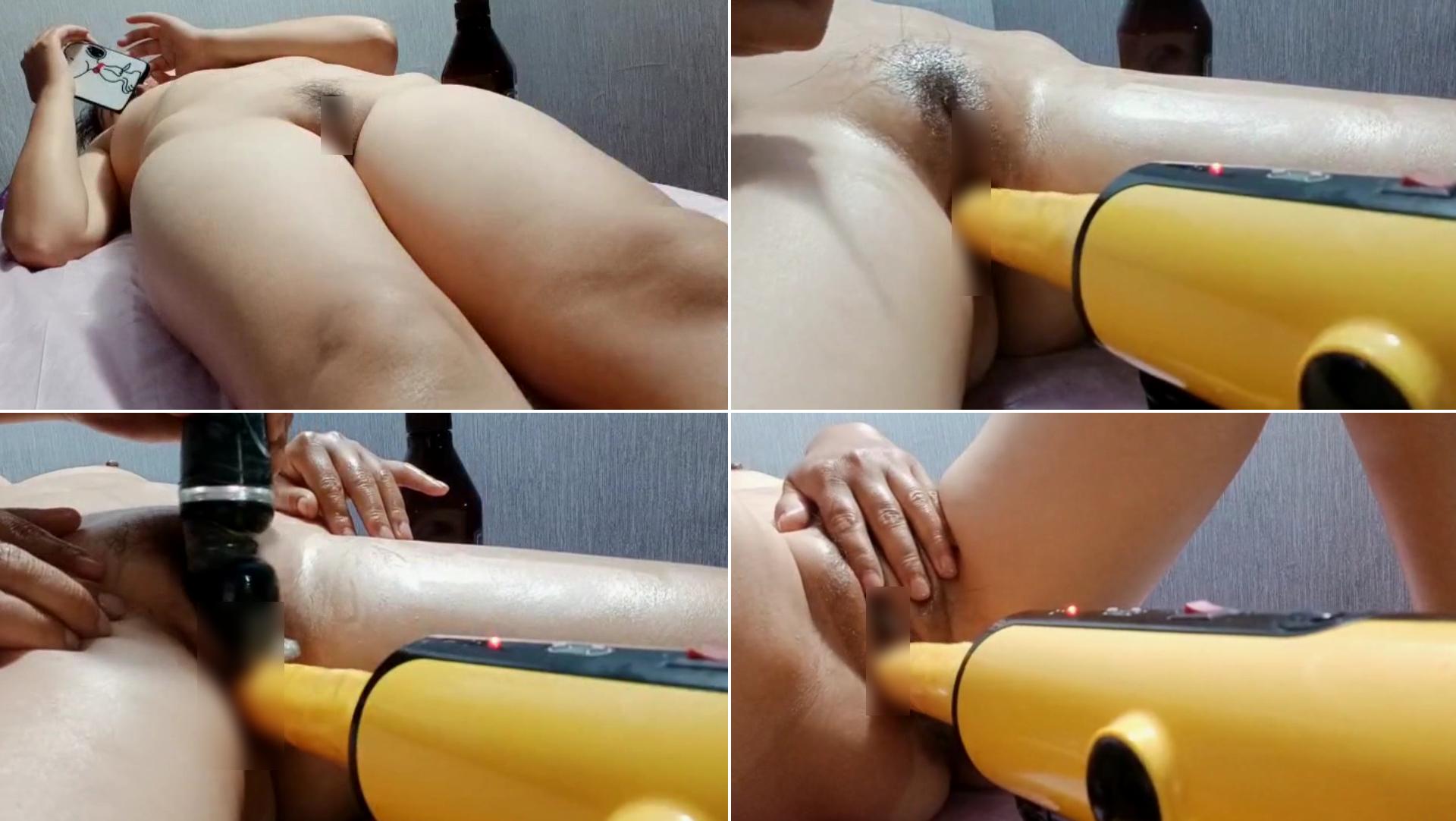 【自動バイブ式マッサージ】序盤が手で体を揉みほぐすのですが途中から自動で前後するバイブと電マを用いた局部マッサージになるオルガズム必死な熱烈マッサージwww
